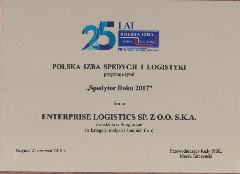 'Spedytor Roku 2017' dla Enterprise Logistics Sp. z o.o. S.K.A
