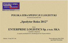 'Forwarder of The Year 2012' for Enterprise Logistics Sp. z o.o. S.K.A