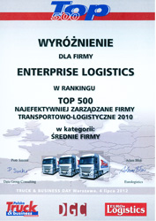 Enterprise Logistics on the top of the rank 'Top 500' by Truck & Business Polska