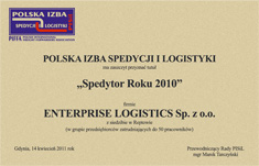 'Forwarder of The Year 2010' for Enterprise Logistics Sp. z o.o.