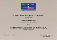 'Forwarder of The Year 2016' for Enterprise Logistics Sp. z o.o. S.K.A